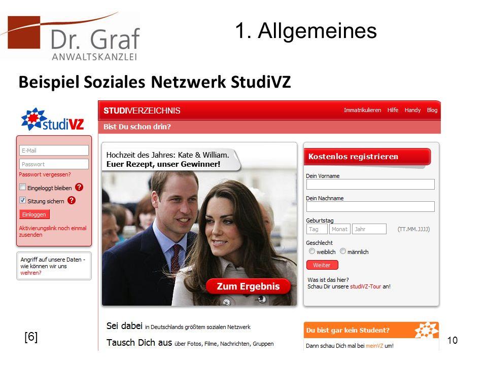 1. Allgemeines Beispiel Soziales Netzwerk StudiVZ [6]